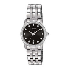 Citizen® Womens Stainless Steel Crystal-Accent Bracelet Watch EU6030-56E