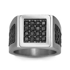 Mens Stainless Steel, Leather & Color-Enhanced Black Diamond-Accent Ring