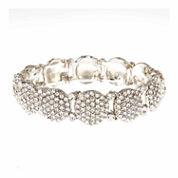 Natasha Accessories Womens White Crystal Stretch Bracelet