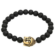 Mens Black 18K Stainless Steel Beaded Bracelet