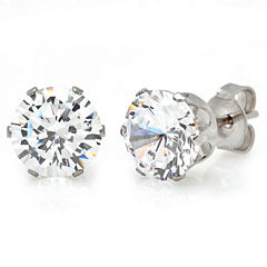 Round White Cubic Zirconia Stud Earrings
