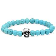 Mens Beaded Simulated Turquoise with Stainless Steel Skull Bracelet