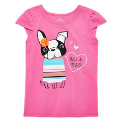 Okie Dokie Girls Graphic Petal T-Shirt-Preschool