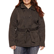 Ymi Belted Fleece Jacket-Juniors Plus