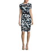 BELLE + SKY Short Sleeve Mesh Inset Bodycon Dress