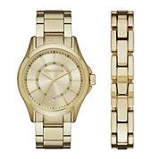 Claiborne® Mens Gold-Tone Watch and Bracelet Set