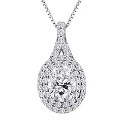 Lab-Created White Sapphire Sterling Silver Halo Pendant Necklace