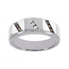 Mens 1/4 CT. T.W. White and Champagne Diamond 10K White Gold Ring