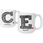 Cathy's Concepts Initial Set of 2 Personalized Large Coffee Mugs