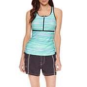 Free Country ® Zip Front Racerback Tankini or Woven Board Shorts