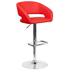 Open Back Vinyl Adjustable Bar Stool