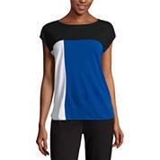 Liz Claiborne Short Sleeve Color-Block T-Shirt