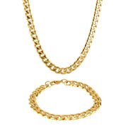 Mens Stainless Steel & Gold-Tone IP 10mm Curb Chain & Bracelet Boxed Set