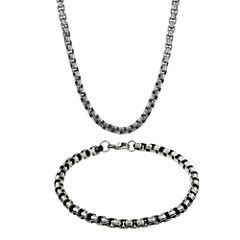 Mens Stainless Steel & Black IP Inlay 5.5mm Round Box Chain & Bracelet Boxed Set