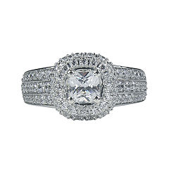 Modern Bride® Signature 1¾ CT. T.W. Diamond 14K White Gold Cushion-Cut Bridal Ring