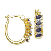 Sparkle Allure Blue Sapphire Hoop Earrings