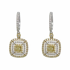 1 1/2 CT. T.W. Yellow Diamond 18K Gold Drop Earrings