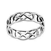 Silver-Plated Cutout Band Ring