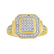 1/3 CT. T.W. Diamond 14K Yellow Gold Over Sterling Silver Frame Ring