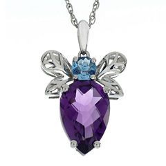 Lab-Created Amethyst and Simulated Blue Topaz Beetle Sterling Silver Pendant Necklace