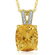 Citrine & Lab-Created White Sapphire Pendant Necklace