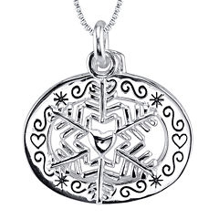 Inspired Moments™ Sterling Silver Snowflake Pendant Necklace