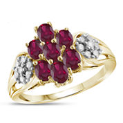 Lab Created Red Ruby and Diamond Accent in Gold Over Silver Cluster Ring