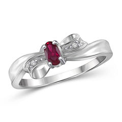 Lab-Created Red Ruby in Sterling Silver Ring