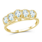 Womens Blue Aquamarine Gold Over Silver Side Stone Ring