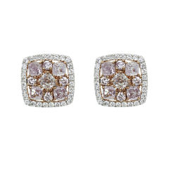 1 1/3 CT. T.W. Pink Diamond 18K Gold Stud Earrings