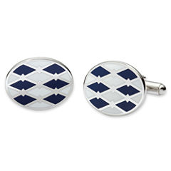Blue and White Enamel Cuff Links