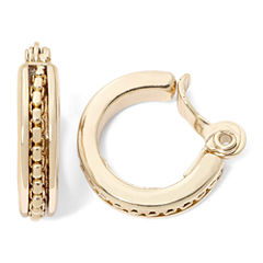 Monet® Gold-Tone Textured Clip-On Hoop Earrings
