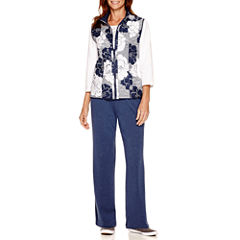 Alfred Dunner® Cape Hatteras Reversible Vest, Embroidered-Yoke Top or French Terry Pants