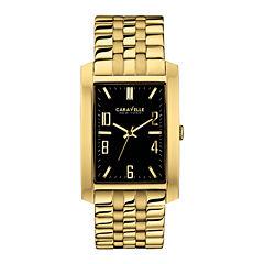 Caravelle New York® Mens Black Rectangle Dial & Gold-Tone Bracelet Watch 44A103
