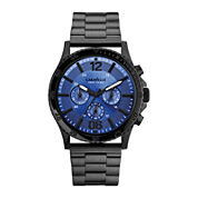 Caravelle New York® Mens Blue Round Dial & Black Bracelet Chronograph 45A106
