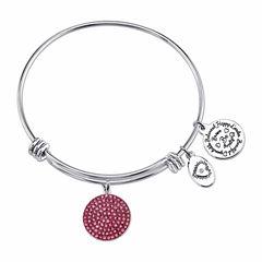 Footnotes Pink Silver Over Brass Bangle Bracelet