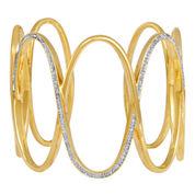 Diamond Addiction 14K Gold-Plated 1/10 CT. T.W. Diamond Circles Cuff Bracelet