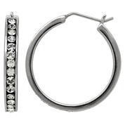 LIMITED QUANTITIES! Sterling Silver Polished Crystal Hoop Earrings