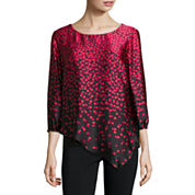 Alyx 3/4 Sleeve Scoop Neck Charmeuse Blouse