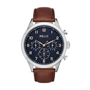 Relic Mens Brown Strap Watch-Zr15884