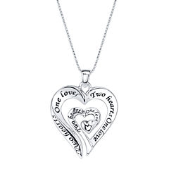 Inspired Moments™ One Love Two Hearts Sterling Silver Pendant Necklace