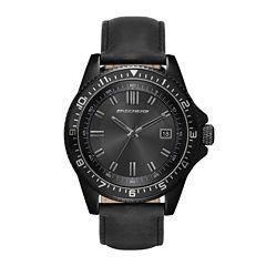 Skechers® Mens Black Leather Strap Analog Watch