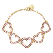 Monet® Pink Crystal Heart Flex Bracelet