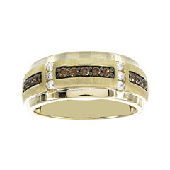 Mens 1/2 CT. T.W. White and Color-Enhanced Brown Diamond Ring