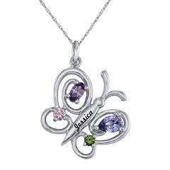 Personalized Girls Birthstone Butterfly Pendant Necklace