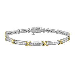 1/4 CT. T.W. Diamond 14K Gold Over Sterling Silver Two-Tone Bracelet