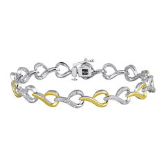 1/10 CT. T.W. Diamond 14K Yellow Gold Over Sterling Silver Link Bracelet