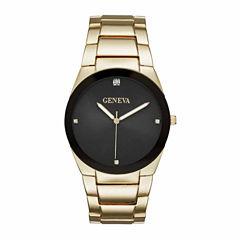 Geneva Mens Gold-Tone and Black Watch