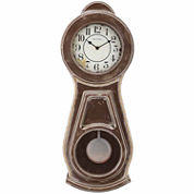 Bulova White Dial Brown Wood Wall Clock-C1518