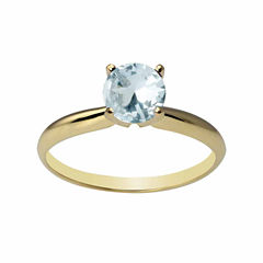 Womens Blue Aquamarine 14K Gold Solitaire Ring